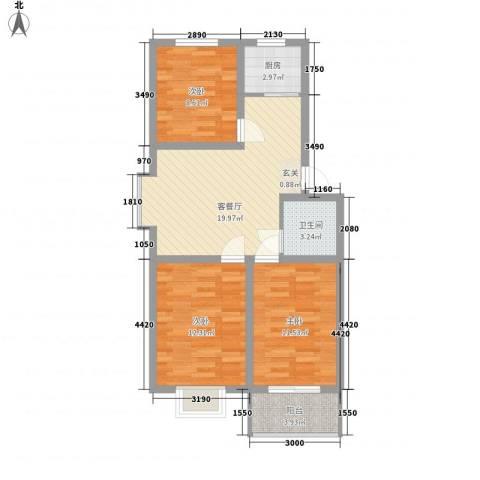 安欣家园3室1厅1卫1厨90.00㎡户型图