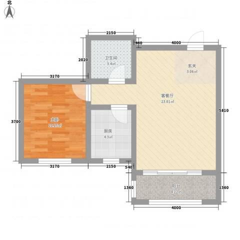 海兰德大厦1室1厅1卫1厨66.00㎡户型图
