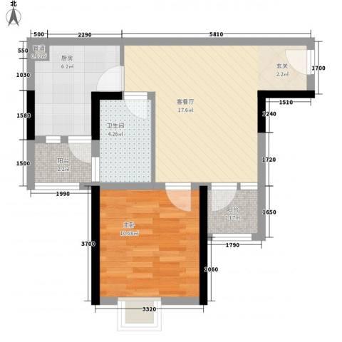 太阳沟(旅顺)1室1厅1卫1厨64.00㎡户型图