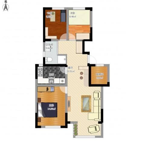 保利拉菲公馆3室1厅1卫1厨114.00㎡户型图