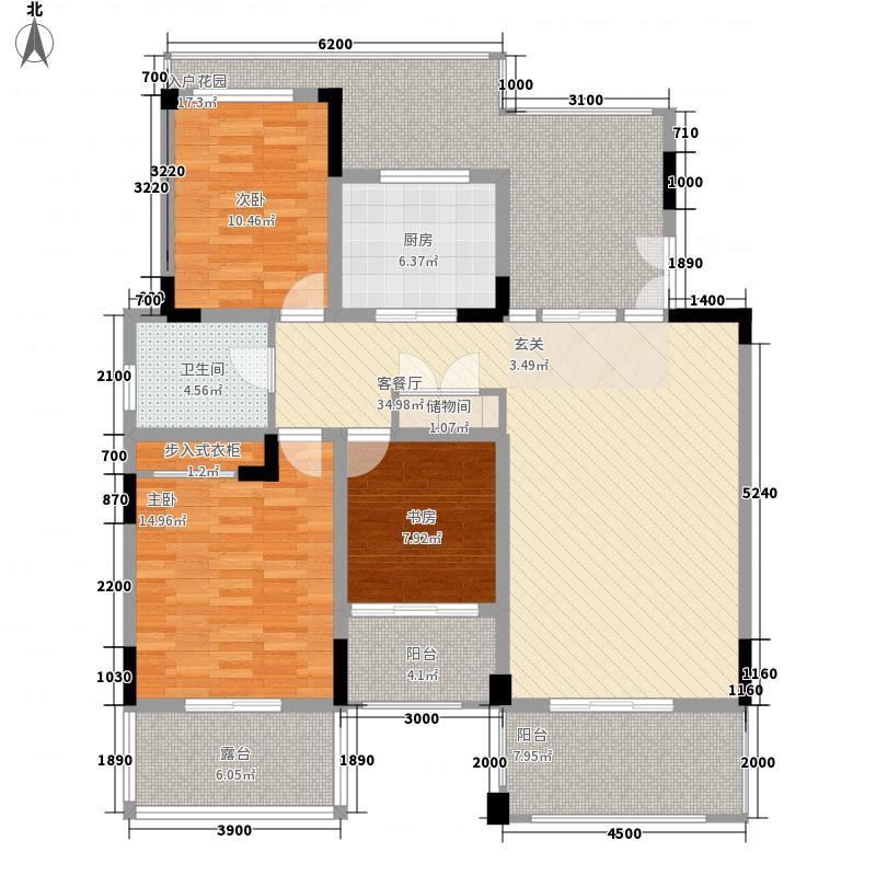 永利滨江御景118.00㎡洋房户型3室2厅1卫1厨
