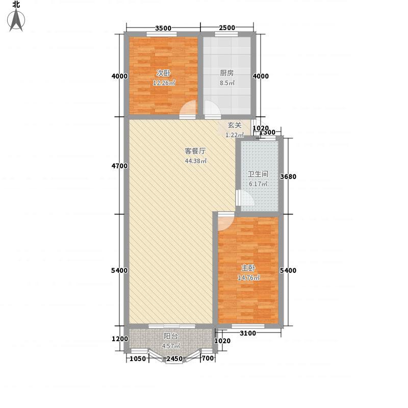 港达家园15.50㎡D户型2室2厅1卫1厨