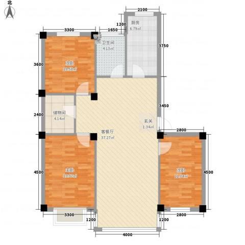 锦城・四月天3室1厅1卫1厨112.00㎡户型图