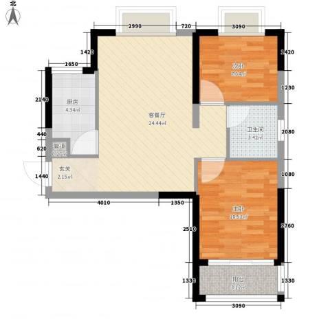 金鑫家园2室1厅1卫1厨76.00㎡户型图