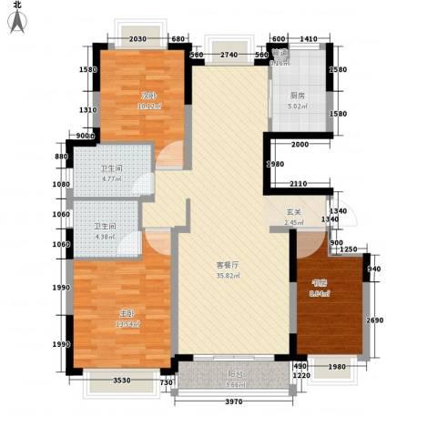 金鑫家园3室1厅2卫1厨123.00㎡户型图