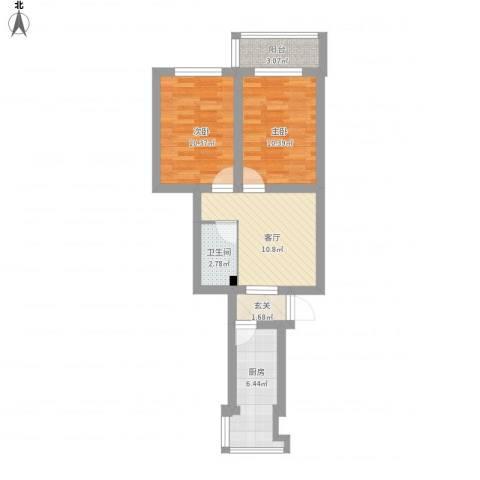 八里庄北里2室1厅1卫1厨70.00㎡户型图