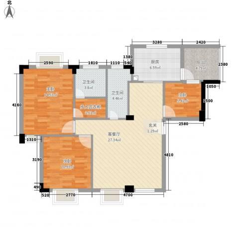 骏雅豪园3室1厅2卫1厨113.00㎡户型图