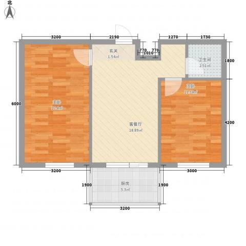 金色佳圆2室1厅1卫1厨77.00㎡户型图