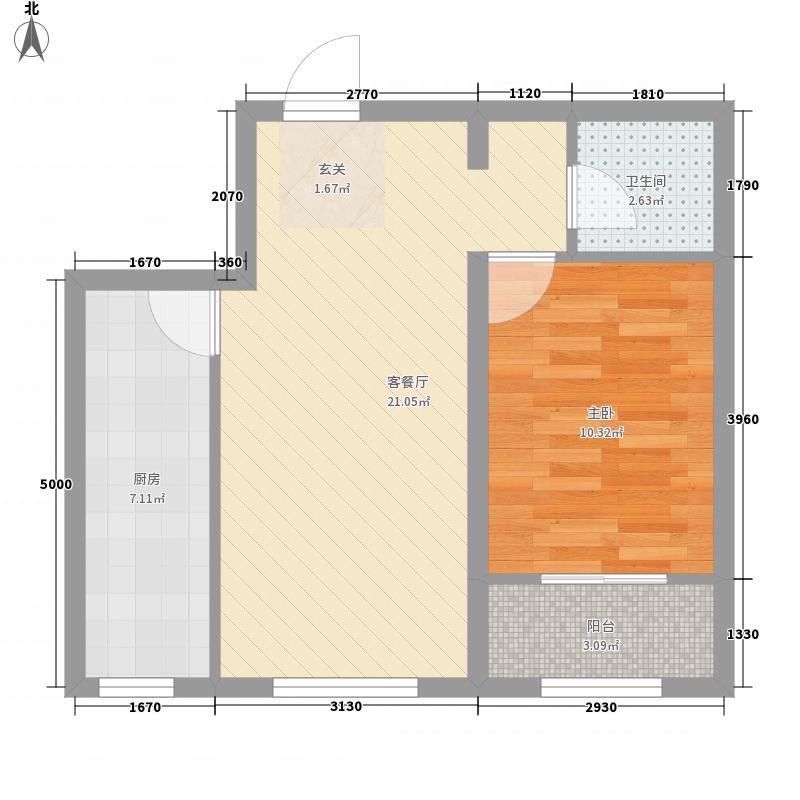 怀来枫树湾63.13㎡7号楼户型1室1厅1卫1厨