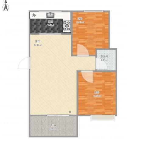 金地・中央美域2室1厅1卫1厨104.00㎡户型图