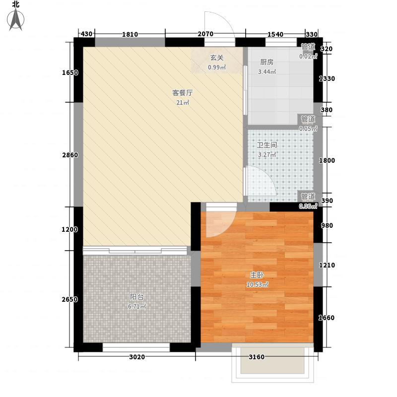 金地国际花园65.00㎡A2户型1室1厅1卫