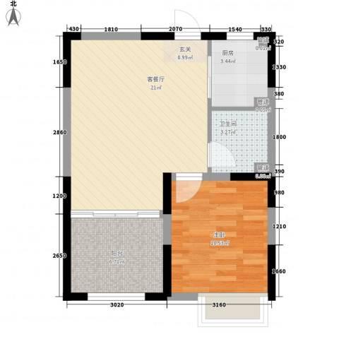 金地国际花园1室1厅1卫1厨65.00㎡户型图
