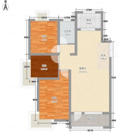 宝地-福湾3室1厅1卫1厨3115.00㎡户型图
