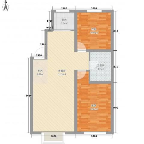 宝地-福湾2室1厅1卫1厨64.23㎡户型图