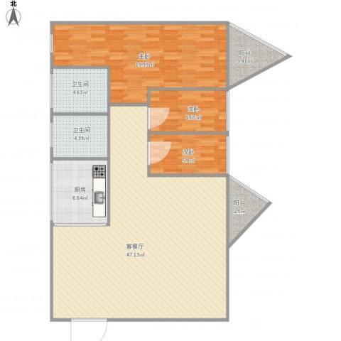 雍和花园10063室1厅2卫1厨127.00㎡户型图