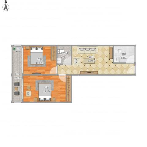 知春路52号院2室1厅1卫1厨75.00㎡户型图