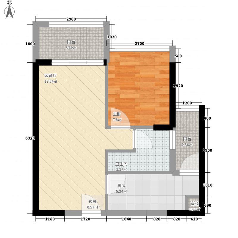 益田大运城邦51.41㎡1栋1单元-05-06户型1室2厅1卫1厨