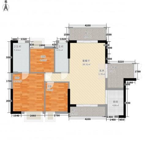 东方家园3室1厅2卫1厨87.29㎡户型图