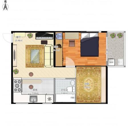 华隆新寓2室1厅1卫1厨68.00㎡户型图