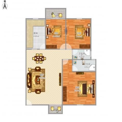 古龙商城3室1厅2卫1厨152.00㎡户型图