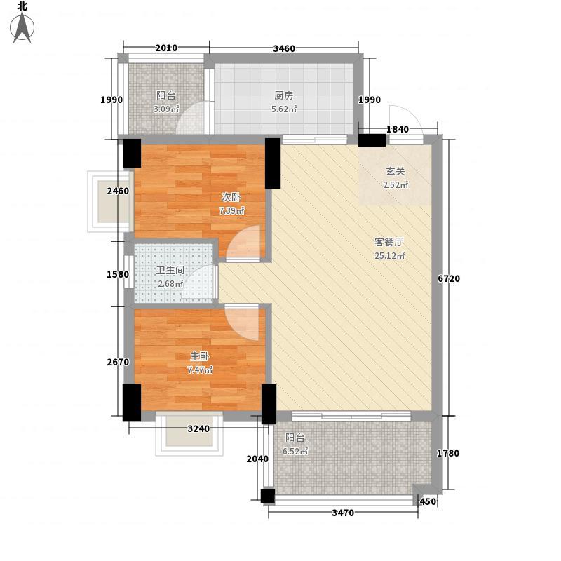 嘉俊雅苑83.58㎡04栋02单元户型2室2厅