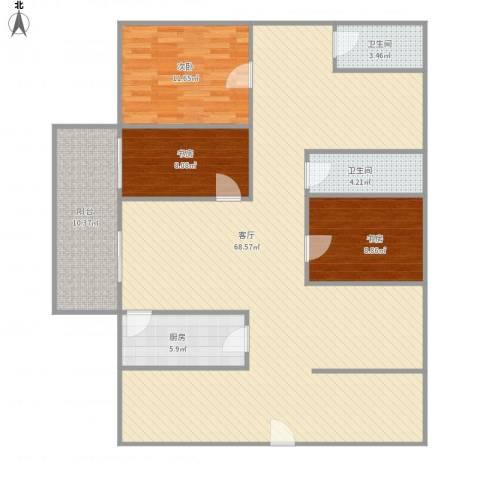 九鼎国际城3室1厅2卫1厨162.00㎡户型图