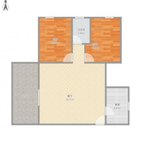 东怡花园2室1厅1卫1厨101.00㎡户型图