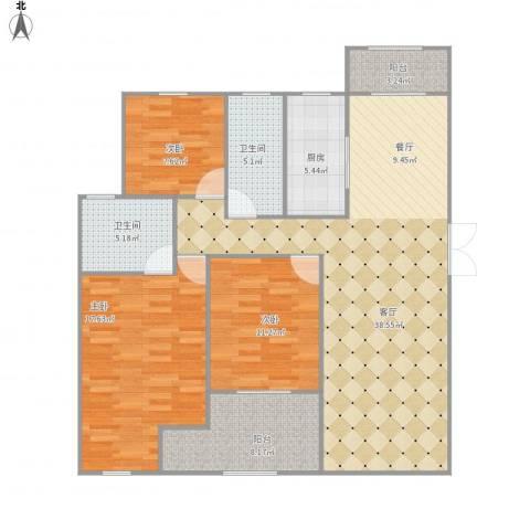 南山巴黎印象3室1厅2卫1厨136.00㎡户型图