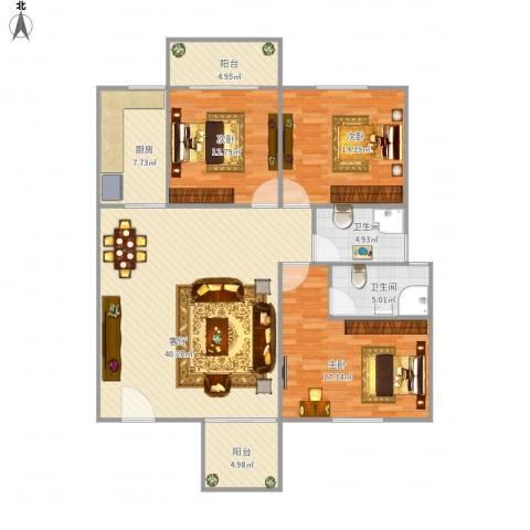 古龙商城3室1厅2卫1厨150.00㎡户型图