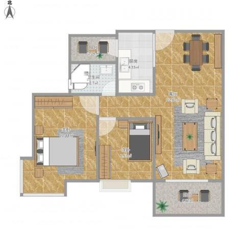 东方新地苑2室1厅1卫1厨76.00㎡户型图
