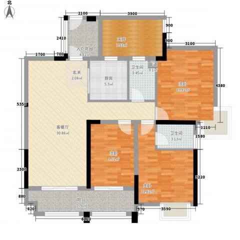 君�花园3室1厅2卫1厨97.84㎡户型图