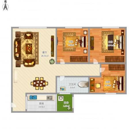 临江佳园3室1厅1卫1厨80.00㎡户型图