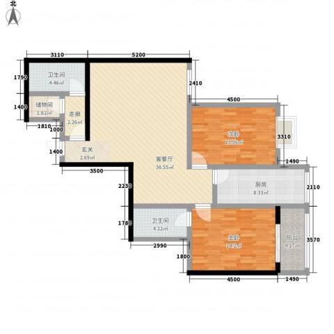 紫气东来2室1厅2卫1厨89.07㎡户型图