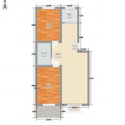安欣家园2室1厅1卫1厨85.00㎡户型图