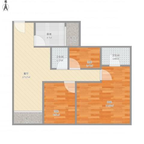 富康花园3室1厅2卫1厨58.95㎡户型图