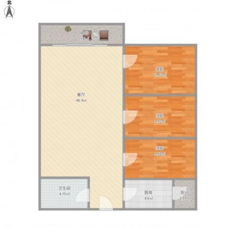 御祥豪庭3室1厅1卫1厨94.31㎡户型图
