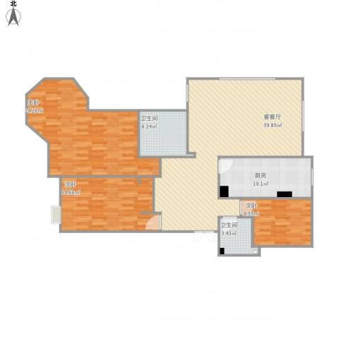 西华公馆4-1-14013室1厅2卫1厨144.00㎡户型图