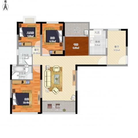 天瑞国际3室2厅2卫1厨120.00㎡户型图