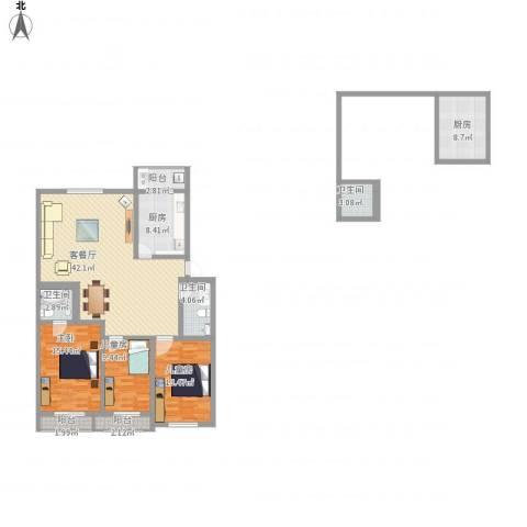 金厦新都花园3室1厅3卫2厨166.00㎡户型图