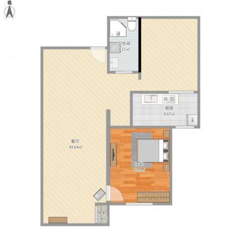 北京市怀柔区庙城镇怡安园小区1室1厅1卫1厨89.00㎡户型图
