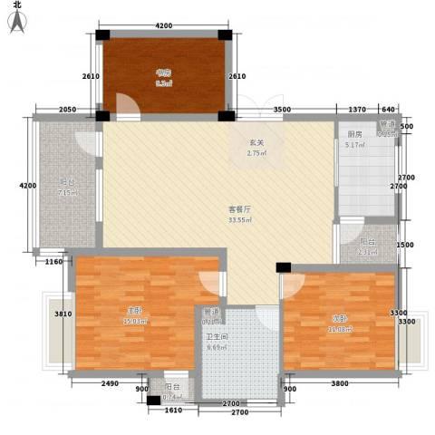 鹅湖花苑3室1厅1卫1厨142.00㎡户型图