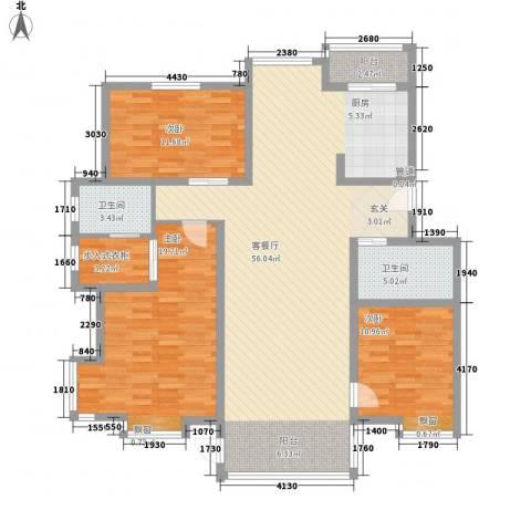 亿利傲东国际3室1厅2卫0厨287.00㎡户型图