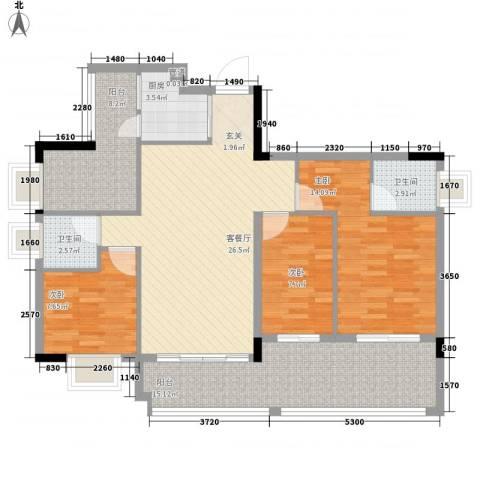 东江花苑3室1厅2卫1厨126.00㎡户型图