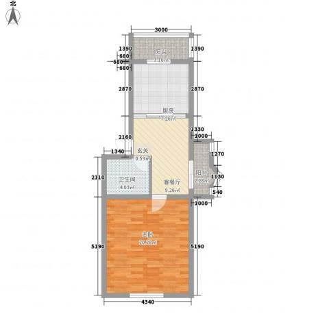 鑫丰金园1室1厅1卫1厨63.00㎡户型图