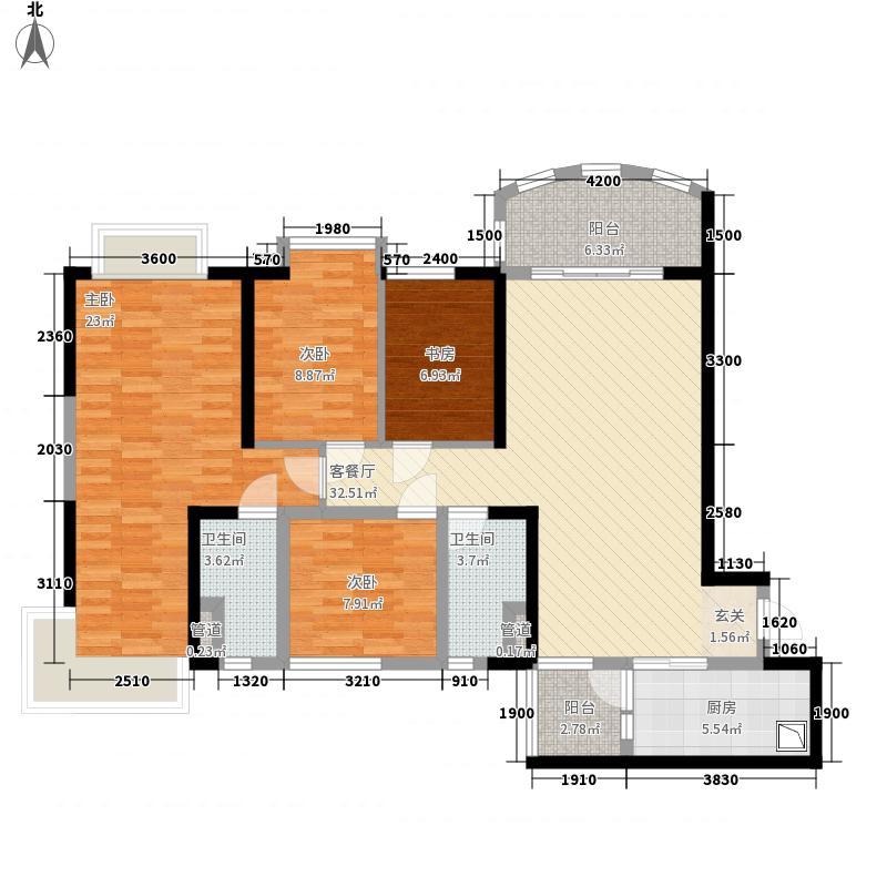 碧桂园・钻石湾138.35㎡2号楼B户型4室2厅2卫1厨
