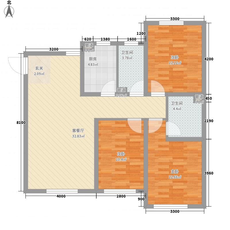 沈阳温馨港湾116.47㎡F1户型3室2厅2卫1厨