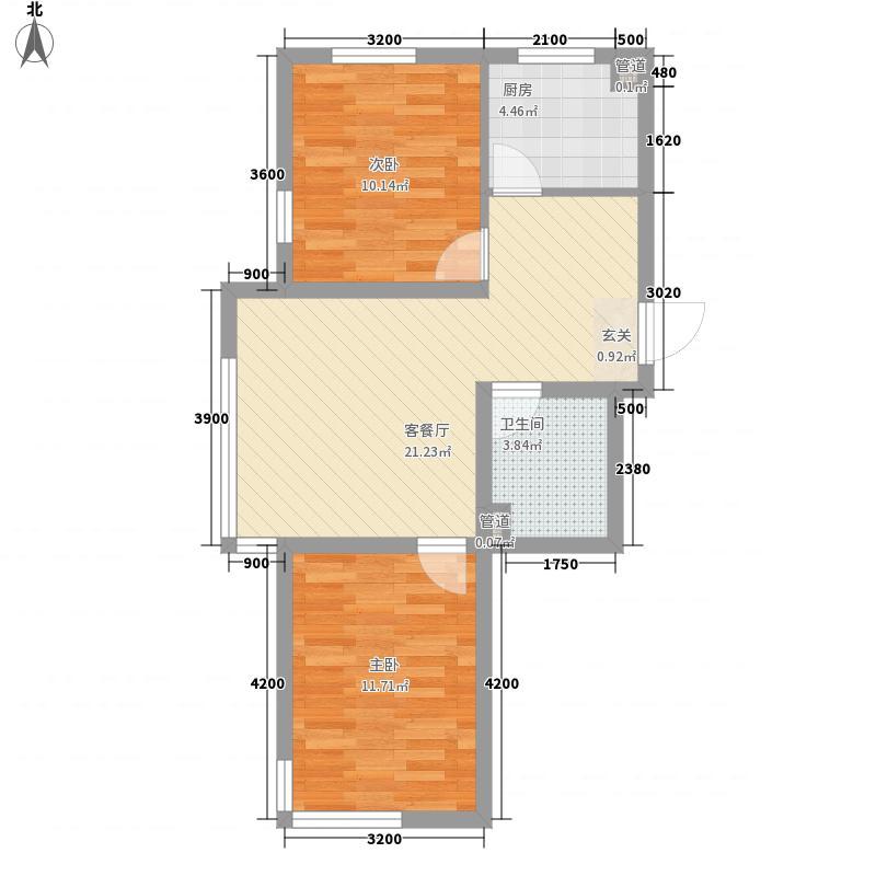 沈阳温馨港湾76.77㎡C6户型2室2厅1卫1厨