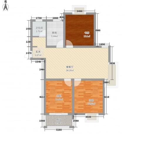 华兴・水岸华庭3室1厅1卫1厨90.00㎡户型图