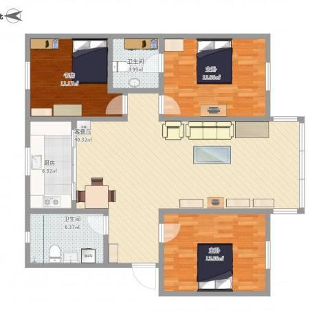 龙景花园3室1厅2卫1厨133.00㎡户型图