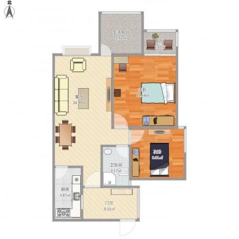沙河壹号一期B152室1厅1卫1厨84.00㎡户型图